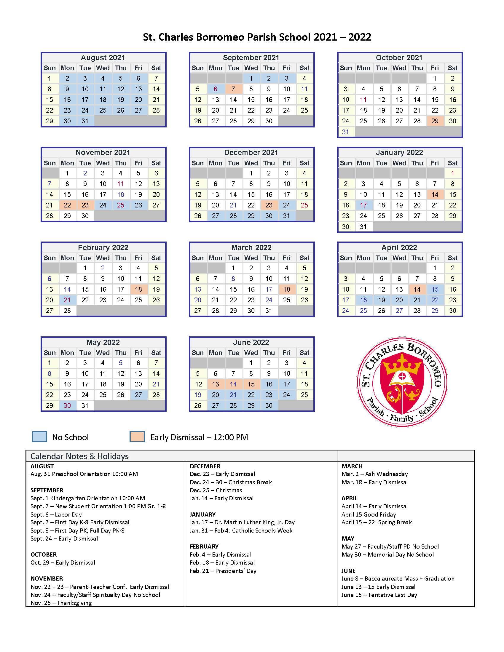 2021 - 2022 St. Charles Borromeo Parish School Calendar.jpg